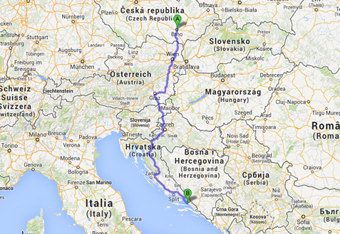 Cesta autem přes Rakousko. 954Km, 9Hodin 7Minut